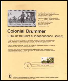 view larger image for Pages Pages: SG Number 1484 / Scott Number 28 September 1973 (1973) - Colonial Drummer
