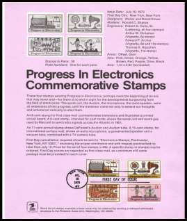 view larger image for Pages Pages: SG Number 1505-1507, A1508 / Scott Number 10 July 1973 (1973) - Progress In Electronics set of four