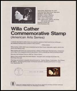 view larger image for Pages Pages: SG Number 1488 / Scott Number 20 September 1973 (1973) - Willa Cather