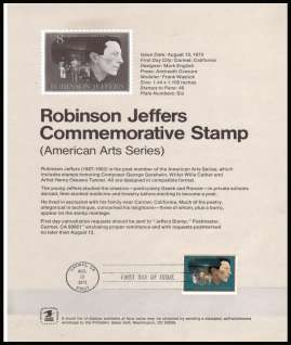 view larger image for Pages Pages: SG Number 1486 / Scott Number 13 August 1973 (1973) - Robinson Jeffers