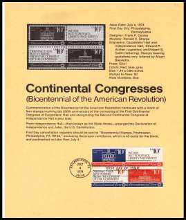 view larger image for Pages Pages: SG Number 1541-1544 / Scott Number 4 July 1974 (1974) - Continental Congress