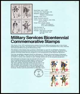view larger image for Pages Pages: SG Number 1563-1566 / Scott Number 4 July 1975 (1975) - Military Services Bicentenary