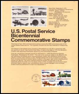 view larger image for Pages Pages: SG Number 1571-1574 / Scott Number 3 September 1975 (1975) - Postal Service Bicentanary