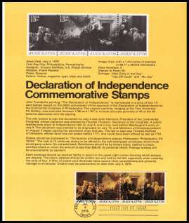 view larger image for Pages Pages: SG Number 1607-1609 / Scott Number 4 July 1976 (1976) - Declaration of Independence strip of four