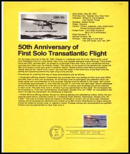 view larger image for Pages Pages: SG Number 1686 / Scott Number 20 May 1977 (1977) - Lindbergh's Transatlantic Flight