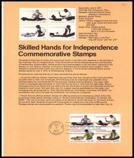view larger image for Pages Pages: SG Number 1693-1696 / Scott Number 4 July 1977 (1977) - Skilled Hands