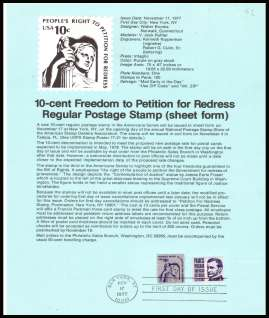 view larger image for Pages Pages: SG Number 1585 / Scott Number 17 November 1977 (1977) - 10c Freedom to Petition - sheet stamp - definitive single