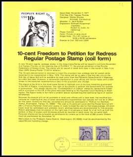 view larger image for Pages Pages: SG Number 1603 / Scott Number 4 November 1977 (1977) - 10c Freedom to Petition - sheet stamp - coil single 