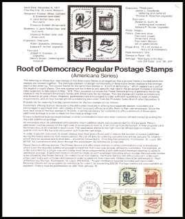 view larger image for Pages Pages: SG Number 1580-1482a / Scott Number 8 December 1977 (1977) - 'Root of Democracy' definitive singles
