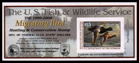 view larger image for Federal Ducks Federal Ducks: SG Number  / Scott Number $15 (1999) - Migratory Bird Hunting and Conservation Stamp<br/>