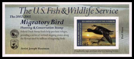 view larger image for Federal Ducks Federal Ducks: SG Number  / Scott Number $15 (2002) - Migratory Bird Hunting and Conservation Stamp<br/>