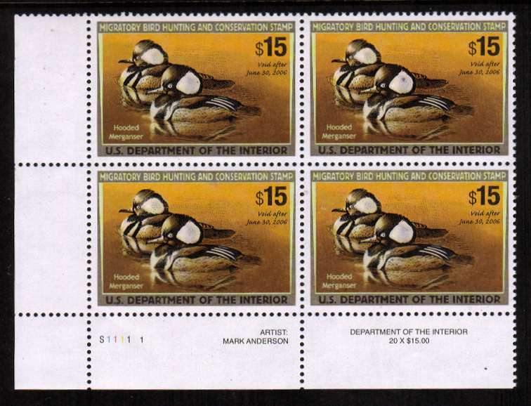 view larger image for Federal Ducks Federal Ducks: SG Number  / Scott Number $15 Plate Block of four (2005) - Migratory Bird Hunting and Conservation Stamp<br/>