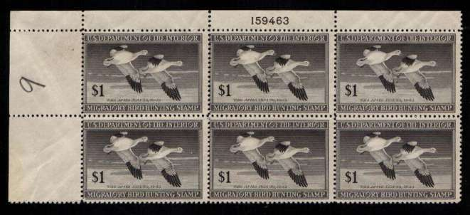 view larger image for Federal Ducks Federal Ducks: SG Number  / Scott Number $1 Plate Block of six (1947) - Migratory Bird Hunting and Conservation Stamp<br/>