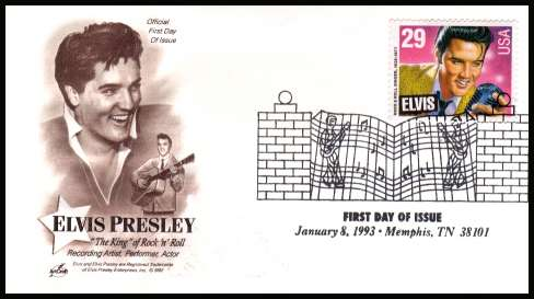 view larger image for  : SG Number 2769 / Scott Number 2721 (1993) - Elvis Presley sheet stamp inscribed ''ELVIS'' on unaddressed ''Artcraft'' first day cover cancelled with the famous ''Gates at Graceland'' cancel dated 8 January 1993 - MEMPHIS TN