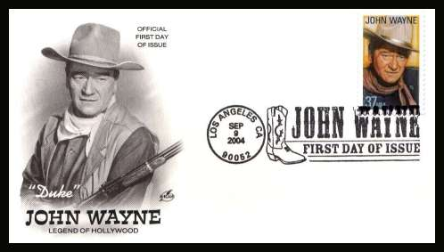 view larger image for First Day Covers First Day Covers: SG Number 4379 / Scott Number  (2004) - Legends of Hollywood - John Wayne single on unaddressed ''Artcraft'' illustrated first day cover cancelled with an illustrated cancel showing cowboy boot dated SEP 9 2004 - LOS ANGELES CA