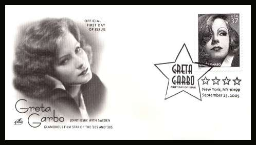 view larger image for First Day Covers First Day Covers: SG Number 4481 / Scott Number  (2005) - Greta Garbo engraved single by SLANIA  on unaddressed ''Artcraft'' illustrated first day cover cancelled with an illustrated cancel for NEW YORK dated 23 SEPTEMBER 2005