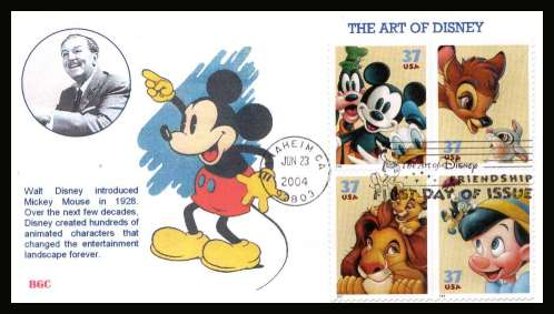 view larger image for First Day Covers First Day Covers: SG Number 4370a / Scott Number  (2004) - The Art of Disney block of four on unaddressed colour illustrated first day cover cancelled with an illustrated cancel for ANAHEIM CA dated JUN 23 2004