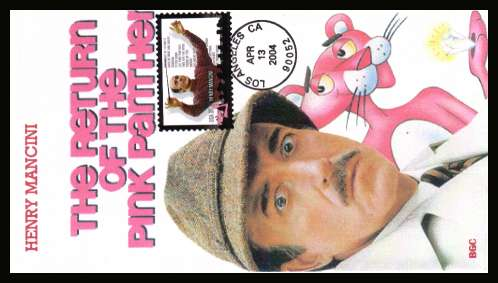 view larger image for First Day Covers First Day Covers: SG Number 4347 / Scott Number  (2004) - Henry Mancini- Composer and 'The Pink Panther' on ''edge to edge'' full colour unaddressed first day cover cancelled with an illustrated cancel for LOS ANGELES CA dated APR 13 2004.
