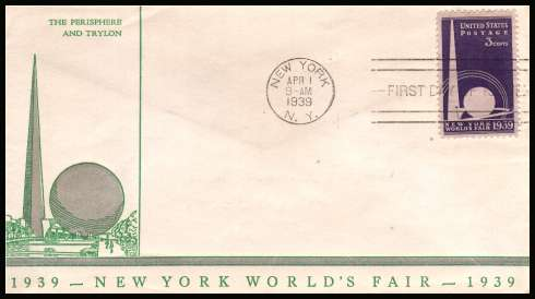 view larger image for First Day Covers First Day Covers: SG Number 850 / Scott Number  (1939) - New York World's Fair single on an unaddressed Linprint in Green and Silver cancelled with a NEW YORK FDI cancel dated APR 1 1939