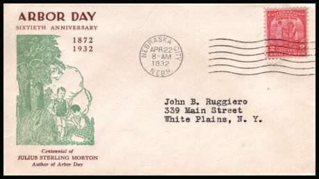 view larger image for First Day Covers First Day Covers: SG Number 717 / Scott Number  (1932) - Arbor Day single on a neatly typed bi-coloured First Day Cover cancelled with a NEBRASKA CITY - NEBR cancel dated APR 22 1932.