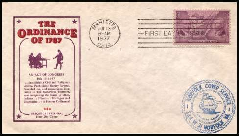 view larger image for First Day Covers First Day Covers: SG Number 791 / Scott Number  (1937) - Ordinance of 1787 single on unaddress Harry Ioor colour first day cover cancelled with a MARIETTA - OHIO FDI cancel dated JUL 13 1937