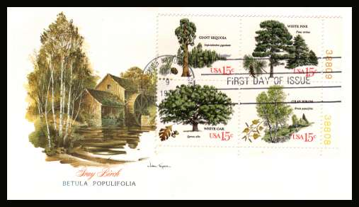 view larger image for  : SG Number 1737a / Scott Number 1767a (1978) - Trees block of four on colour Fleetwood First Day Cover cancelled with HOT SPRING NATIONAL PARK  - AR FDI cancel dated OCT 9 1978