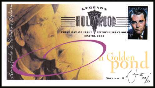 view larger image for First Day Covers First Day Covers: SG Number 4439 / Scott Number  (2004) - Legends of Hollywood - Henry Fonda single on limited edition (50) full colour WILLIAM III first day cover  cancelled with an illustrated cancel showing LEGENDS OF HOLLYWOOD dated MAY 20 2005 - BEVERLEY HILLS CA