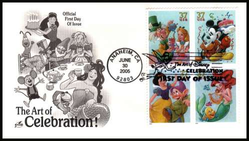 view larger image for First Day Covers First Day Covers: SG Number 4440a / Scott Number  (2005) - The Art of Disney block of four on unaddressed ''Artcraft'' illustrated first day cover cancelled with an illustrated cancel for ANAHEIM CA dated JUN 30 2005