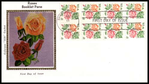 view larger image for  : SG Number 1729a / Scott Number 1737a (1978) - Roses booklet pane of eight on unaddressed Colorano 'Silk' first day cover cancelled with a SHREVPORT - LA 