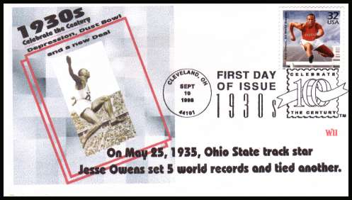 view larger image for  : SG Number 3505 / Scott Number 3185j (1998) - 32c Jessie Owens single from the 1930's ''Celebrate the Century'' sheet cancelled with a CLEVELAND - OH special cancel dated SEPT 10 1998