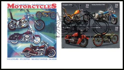 view larger image for First Day Covers First Day Covers: SG Number 4646a / Scott Number  (2006) - American Motorcycles block of four on unaddressed colour illustrated first day cober cancelled with a fancy STURGIS - SD FDI cancel dated AUGUST 7 2006