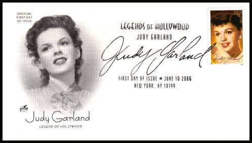 view larger image for First Day Covers First Day Covers: SG Number 4619 / Scott Number  (2006) - Legends of Hollwood - Judy Garland on an unaddressed Artcraft first day cover cancelled with a large fancy cancel for NEW YORK  - NY dated JUNE 10 2006