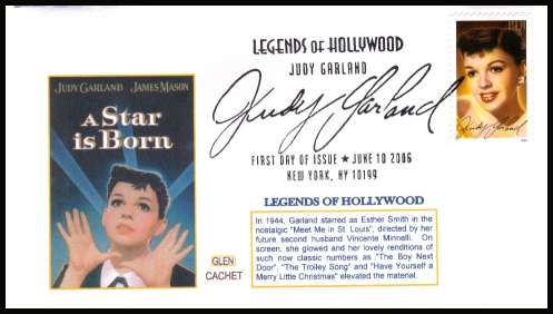 view larger image for First Day Covers First Day Covers: SG Number 4619 / Scott Number  (2006) - Legends of Hollwood - Judy Garland on an unaddressed GLEN Cachet limited edition color first day cover cancelled with a large fancy cancel for NEW YORK - NY dated JUNE 10 2006