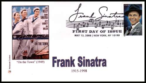 view larger image for First Day Covers First Day Covers: SG Number 4853 / Scott Number  (2008) - Frank Sinatra on an unaddressed McIntosh Cachets limited edition colour first day cover cancelled with a large fancy cancel for NEW YORK - NY dated MAY 13 2008
