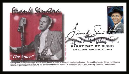view larger image for First Day Covers First Day Covers: SG Number 4853 / Scott Number  (2008) - Frank Sinatra on an unaddressed  limited edition colour first day cover cancelled with a large fancy cancel for NEW YORK - NY dated MAY 13 2008