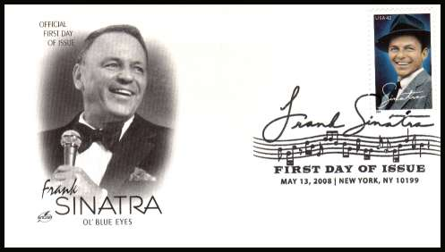 view larger image for First Day Covers First Day Covers: SG Number 4853 / Scott Number  (2008) - Frank Sinatra on an unaddressed Artcraft first day cover cancelled with a large fancy cancel for NEW YORK - NY dated MAY 13 2008