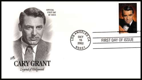view larger image for First Day Covers First Day Covers: SG Number 4853 / Scott Number  (2008) - Legends of Hollywood - Cary Grant  on an unaddressed Artcraft first day cover cancelled with a LOS ANGELES - CA FDI cancel dated OCT 15 2002