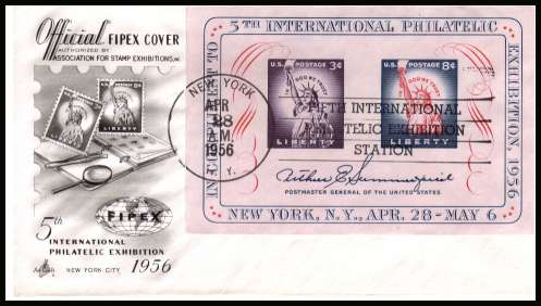 view larger image for First Day Covers First Day Covers: SG Number MS1077 / Scott Number  (1956) - Fifth International Philatelic Exhibition minisheet on unaddressed Artcraft first day cover cancelled with a NEW YORK - NY FIPEX 