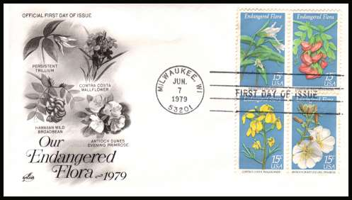 view larger image for  : SG Number 1761a / Scott Number 1786a (1979) - Flowers block of four on unaddressed Artcraft first day cover cancelled with a