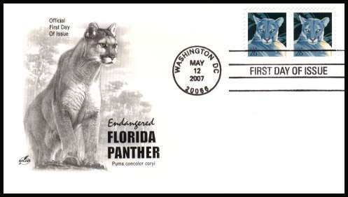 view larger image for First Day Covers First Day Covers: SG Number 4707 / Scott Number  (2007) - Florida Panther 26c sheet stamp pair on unaddressed ''Artcraft'' first day cover cancelled with a WASHINGTON - D.C.