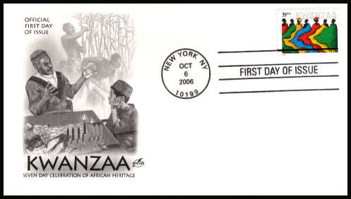view larger image for First Day Covers First Day Covers: SG Number 4680 / Scott Number  (2006) - Kwanzaa 39c single on unaddressed ''Artcraft'' first day cover cancelled with a NEW YORK - NY 