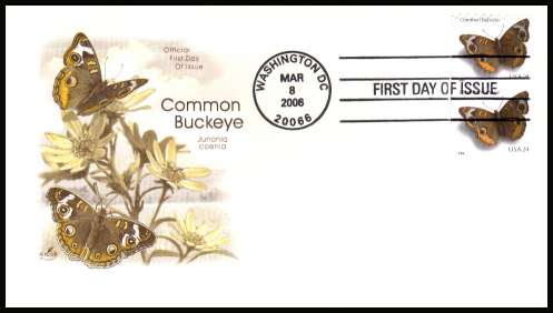 view larger image for First Day Covers First Day Covers: SG Number 4543 / Scott Number  (2006) - Common Buckeye Butterfly coil pair on unaddressed ''Artcraft'' first day cover cancelled with a WASHINGTON - D.C.