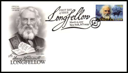 view larger image for First Day Covers First Day Covers: SG Number 4686 / Scott Number  (2007) - Literary Arts - Henry Wadsworth Longfellow 39c single 