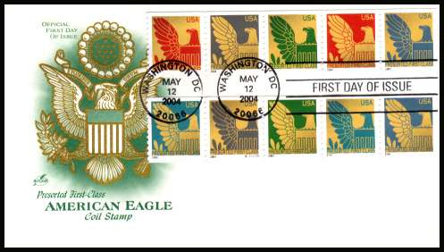 view larger image for First Day Covers First Day Covers: SG Number 4352-4361 / Scott Number  (2004) - American Eagle Coil strip of ten on unaddressed ''Artcraft'' first day cover cancelled with a WASHINGTON - D.C.