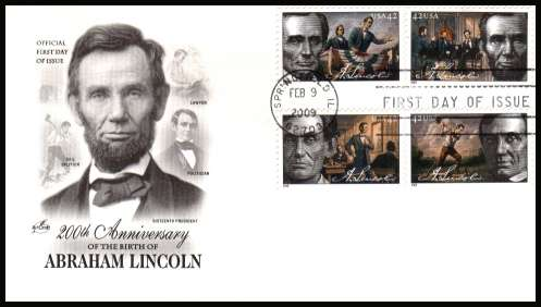 view larger image for First Day Covers First Day Covers: SG Number 4391-4934 / Scott Number  (2009) - Abraham Lincoln set of four on unaddressed ''Artcraft'' first day cover cancelled with a SPRINGFIELD IL