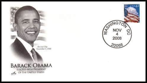 view larger image for Covers + Postal History Covers + Postal History: SG Number stamp varies / Scott Number  (2008) - Barack Obama Election Day  unaddressed ''Artcraft''  cover cancelled with a WASHINGTON - DC 