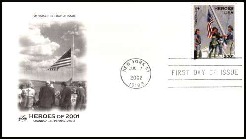 view larger image for First Day Covers First Day Covers: SG Number 4110 / Scott Number  (2002) - Heroes of 9-11 Charity Issue on ''Artcraft'' unaddressed first day cover cancelled with a FDI cancel for NEW YORK dated JUN 7 2002.