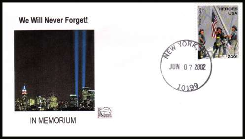 view larger image for First Day Covers First Day Covers: SG Number 4110 / Scott Number  (2002) - Heroes of 9-11 Charity Issue on Tom's Cachet Design unaddressed first day cover cancelled with a FDI cancel for NEW YORK dated JUN 7 2002.