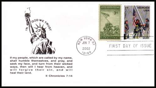 view larger image for First Day Covers First Day Covers: SG Number 4110 / Scott Number  (2002) - Heroes of 9-11 Charity Issue and Raising the Flag on Iwo Jima on unaddressed first day cover cancelled with a FDI cancel for NEW YORK dated JUN 7 2002.