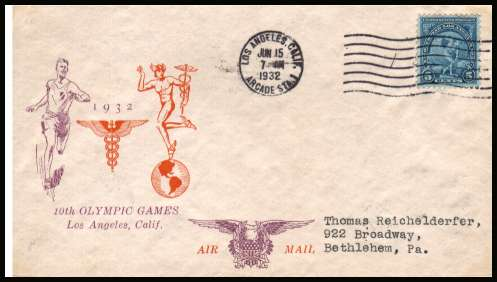 view larger image for First Day Covers First Day Covers: SG Number 719 / Scott Number  (1932) - 5c Summer Olympics single on neatly typed addressed Elliott cachet in orange and purple first day cover cancelled LOS ANGELES - CALIF - ARCADIA STA and clearly dated JUN 15 1932